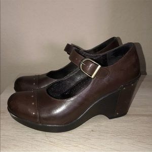 Dansko Fanny Mary Jane Chocolate Wedges Shoes 39